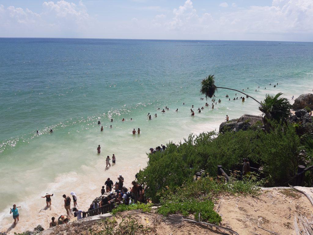 Tulum, sea, morze Meksyk, Mexico, palm