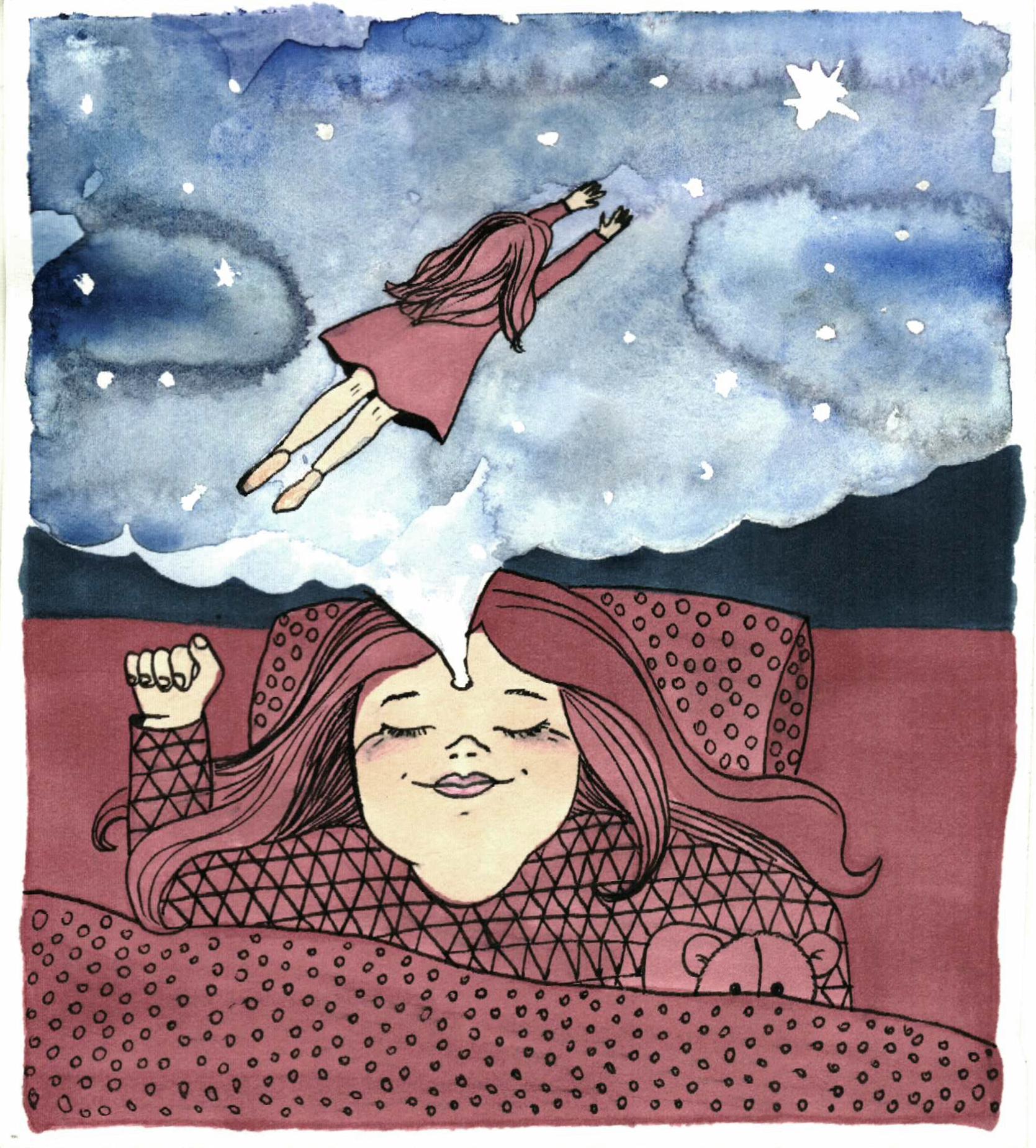 sen o lataniu ilustacja maria inspires